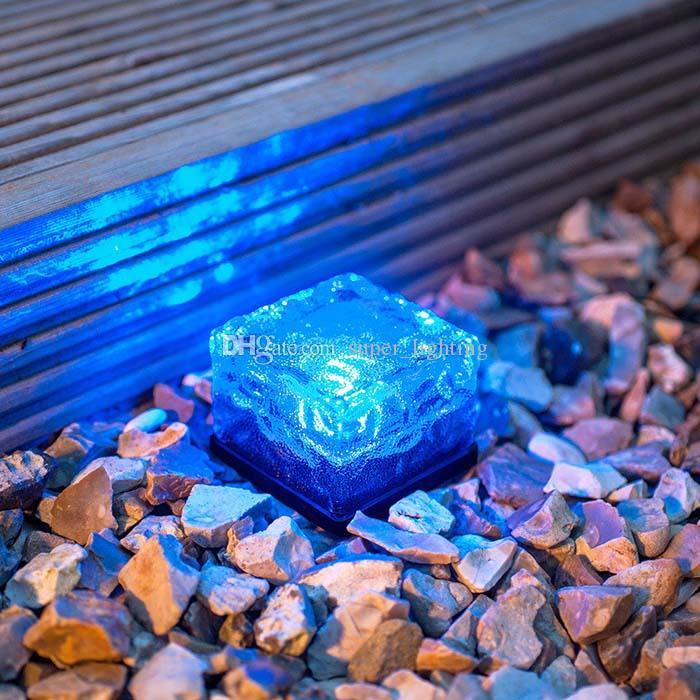 6 Cores À Prova D 'Água Solar Luzes Subterrâneas Solar Caminho Do Cubo De Luz Tijolo De Gelo Luz Da Lâmpada de Cristal Levou Luz de Natal