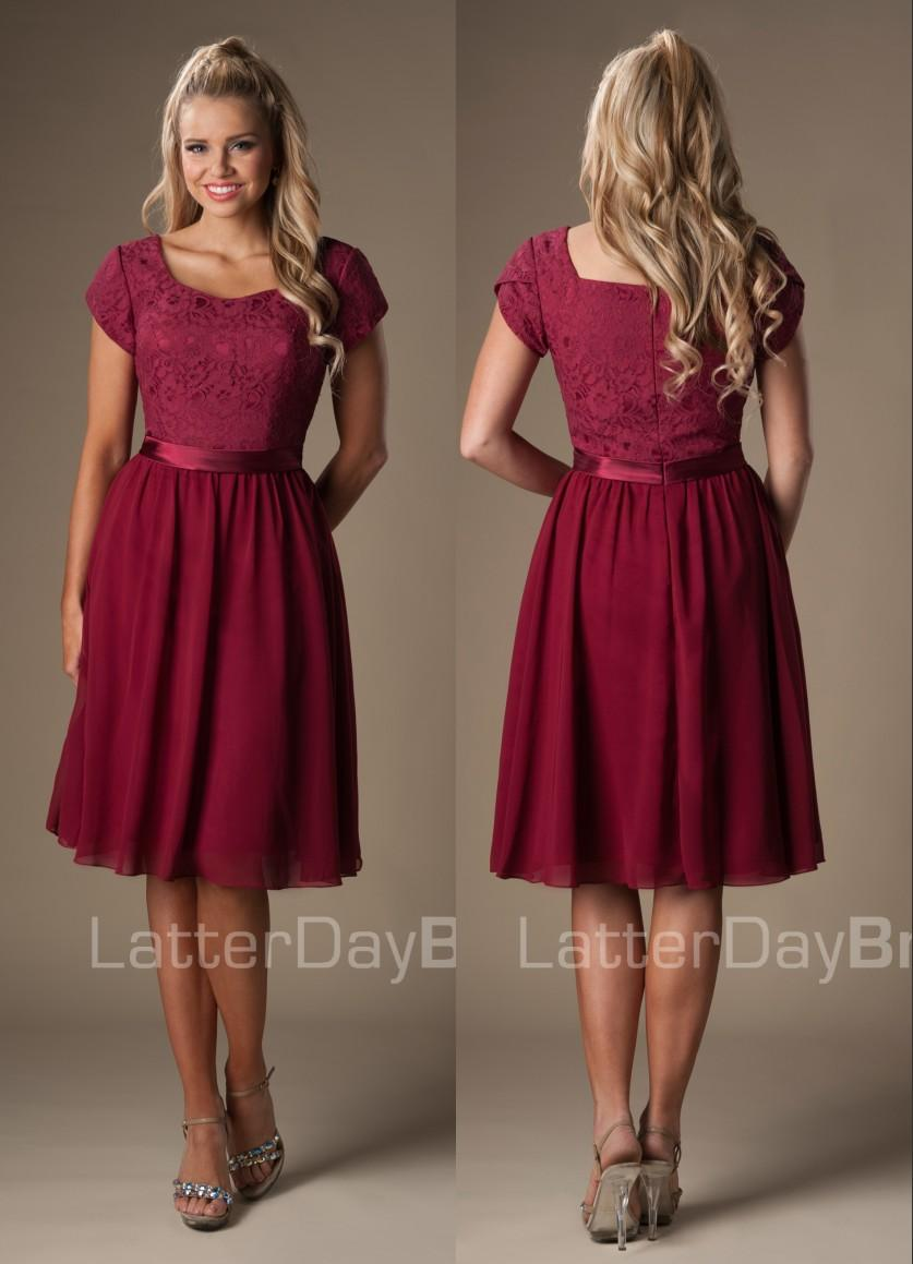 Unique burgundy country lace chiffon short modest bridesmaids unique burgundy country lace chiffon short modest bridesmaids dresses cap sleeves a line ribbons brides maids wedding dresses cheap non traditional ombrellifo Image collections