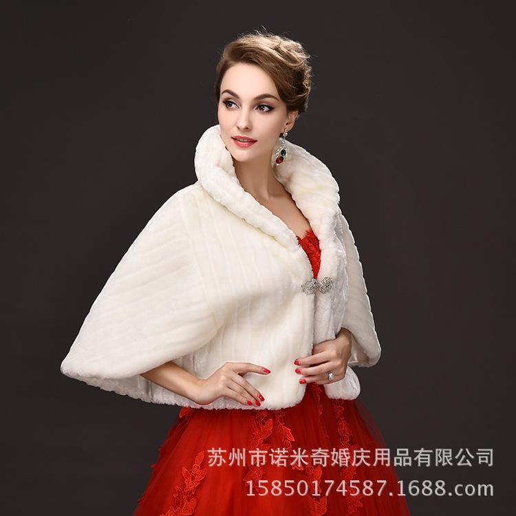 Scialle da sposa in inverno imitazione coccodrillo imitazione di cappotto di pelliccia Raglan Sleeve Avorio fiocco di pelliccia di nozze Partito caldo giacca serale
