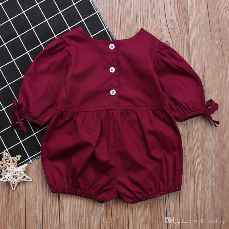 Baby girls bubble sleeve summer romper toddlers solid color puff-sleeved onesie summer outfits for 0-2T