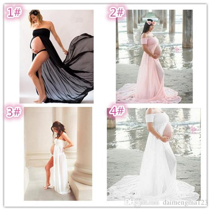 Pregnant Women Dresses Chiffon Off Shoulders Maternity Strapless Photography Dresses Pregnancy Photo Shoot Split Longuet M106