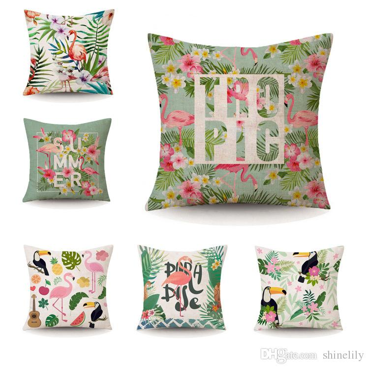 45 45cm Flamingos Tropical Plant Printed Cushion Cover Green Leaves