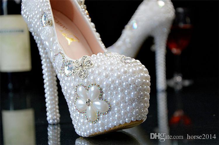 Nouveau Mariage Ultra haut talon Plate-forme Cristaux Chaussures Esthétique Cristal Perle De Mariée Chaussures Diamant Lady Chaussures De Mariage Partie