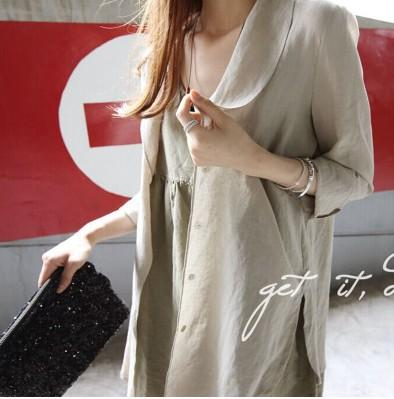 26d1cdb90122 2015 Summer New Cotton Linen Shirt Women s Long-sleeved Sun ...