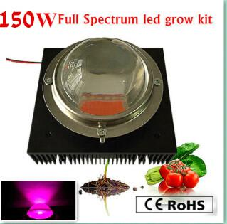 actual power 150w diy led grow kit 150w led grow light chip power supply big heat sink fan and driverbig lens reflector