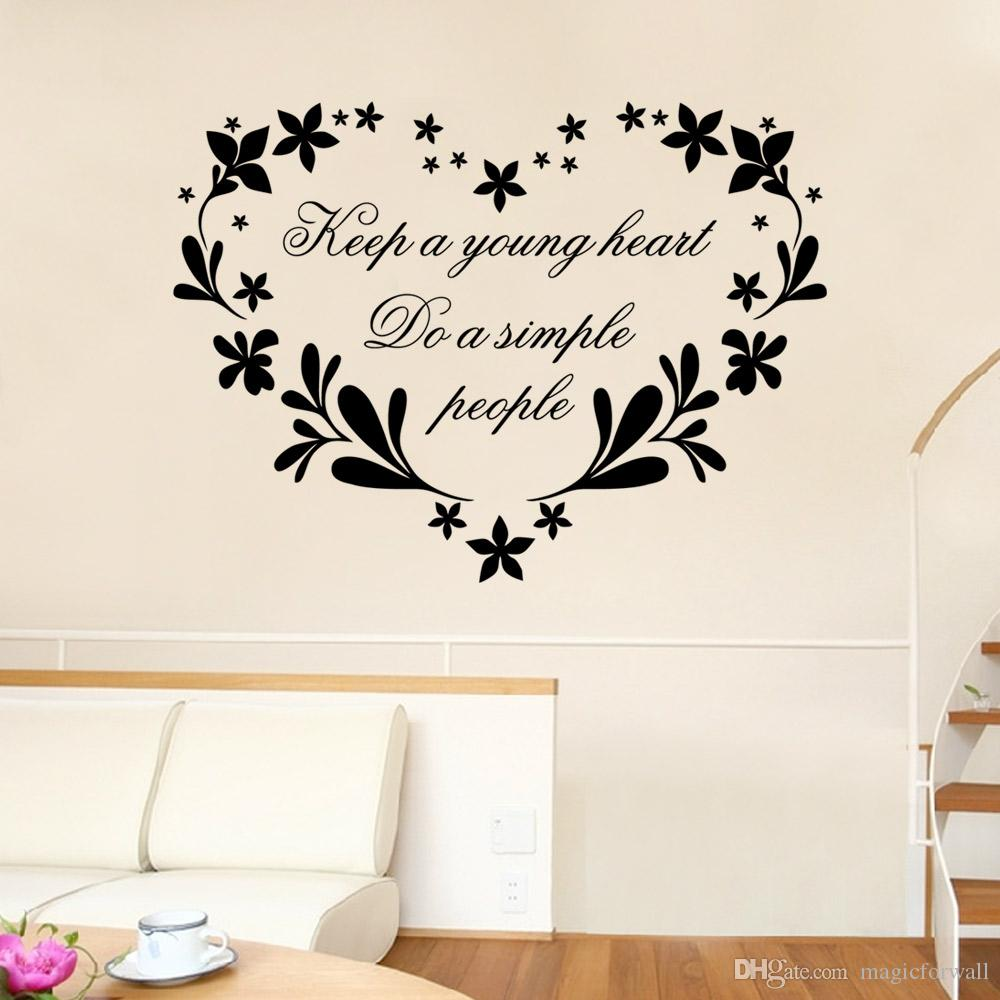 black flowers with heart shape wall stickers keep a young heart do see larger image