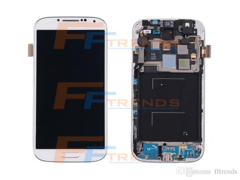 Großhandelspreis für samsung galaxy s4 i9500 i337 m919 i545 i9505 l720 r970 lcd montage display ersatz mit rahmen