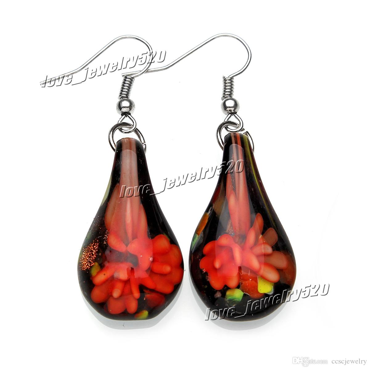 Fashin wholesale handmade mix color Italian Gold sand Drop Flower Lampwork murano glass Earrings #E107 Z