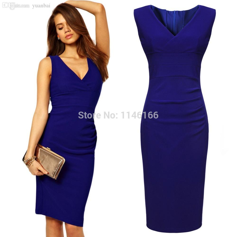 3b27de7a36 Wholesale Wholesale Womens Ladies Blue Sleeveless Bodycon Sexy V Neck  Evening Ball Office Work Pencil Dresses Vestidos Size SM XXL 1572 Graduation  Maxi ...
