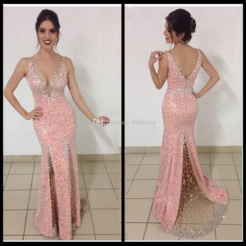 766f6fcb4c0d Pink Lace Sequins Mermaid Long Evening Dresses Crystals Beading Sheer See  Through 2016 Prom Dresses Robe De Soiree Vestidos De Fiesta 1920s Evening  Dresses ...