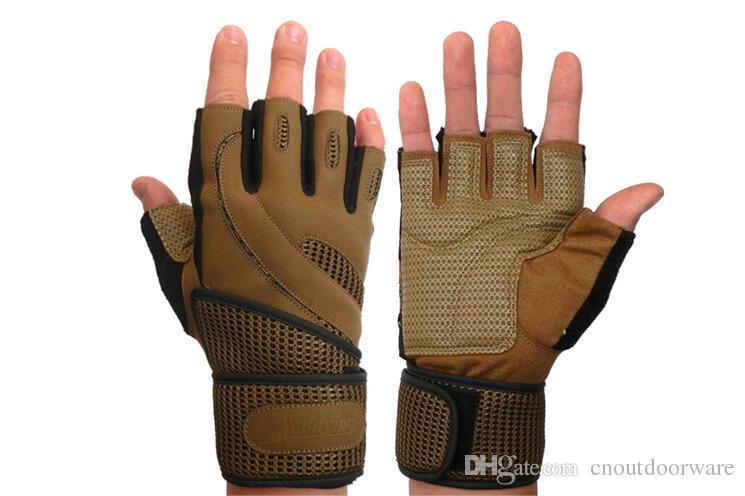 Men tactical gloves half finger fitness gloves palm microfiber leather no slip outdoor sports/training gloves M/L/XL black/brown