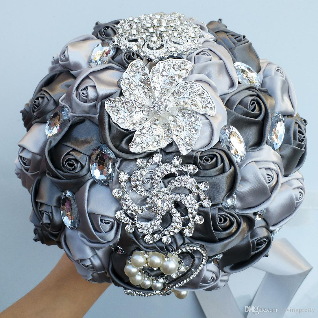 Jane Vini Beautiful Crystal Rhinestone Artificial Wedding Bouquets For Bride Grey Holding Flowers Brooch Bouquet Handmade Roses With Pearls
