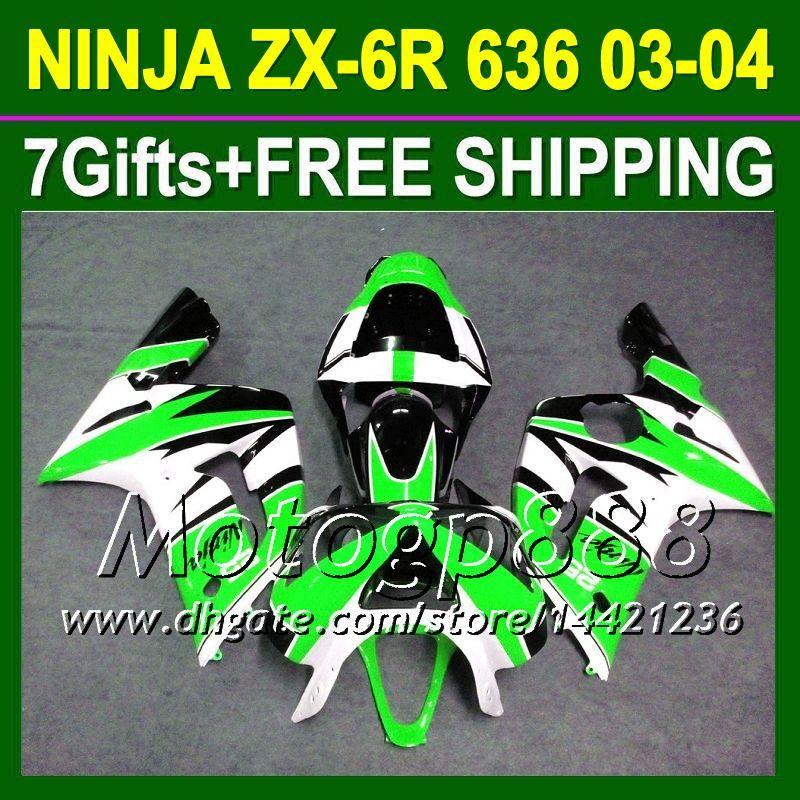 7gifts vert blanc pour KAWASAKI 03-04 NINJA ZX-6R 03 04 ZX 6 R ZX-636 Vert noir P8121 ZX 6R 636 ZX6R ZX636 2003 2004 2003-2004 Carénages