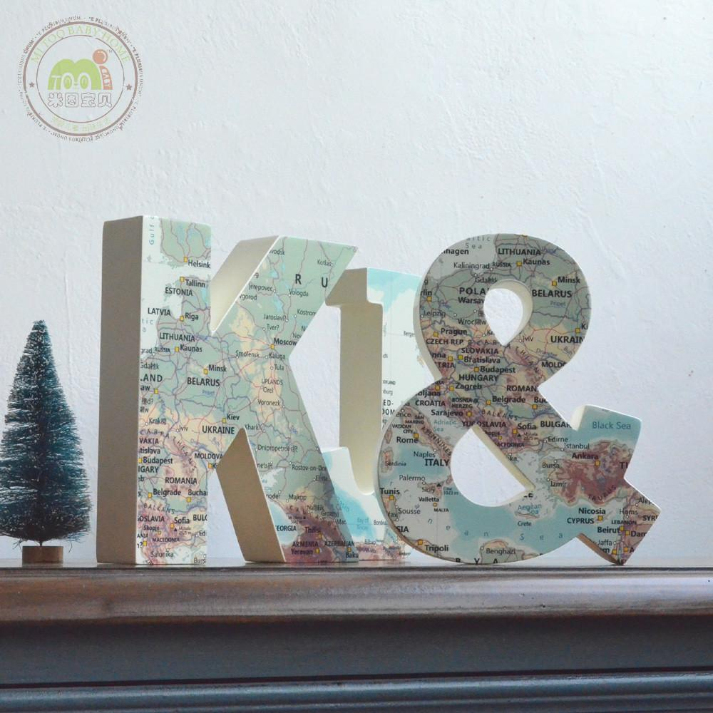 Bedroom Decor Letters k & j mediterranean letter wooden room decoration eur. vintage