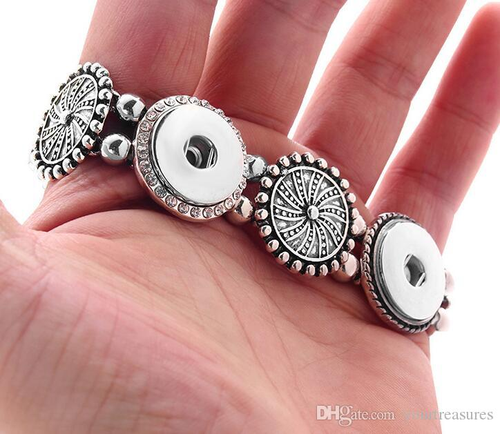 Beauty Simple 5 buttons charm snap Jewelry Bangle bracelet fit 18MM snap buttons jewelry