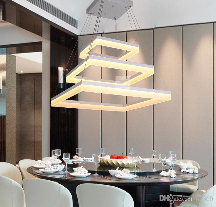 Modern Led Rectangle Pendant Lamp Led Chandeliers Fixture Gold ...