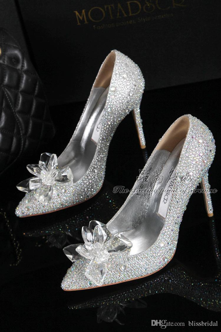 جديد وصول سندريلا أحذية عالية الكعب الكريستال الزفاف المشاهير رقيقة كعب حجر الراين منصة فراشة سندريلا أحذية كريستال