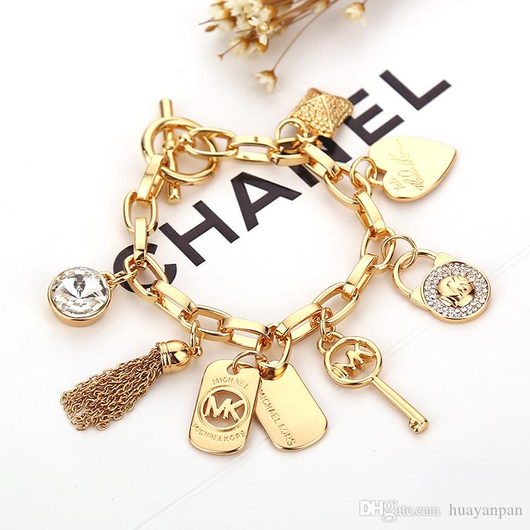 2015 hot Alloy key bracelets with love heart gem 925 sterling silver or gold plated pendants Charm Bracelets Bangle jewelry for men women