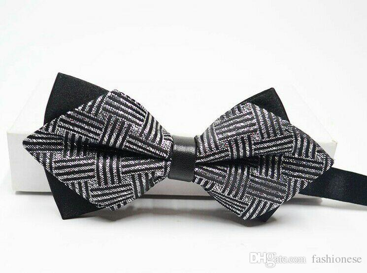 Pack Of 2 No Brand Mens Polyester Bow Tie Double-deck White and Black