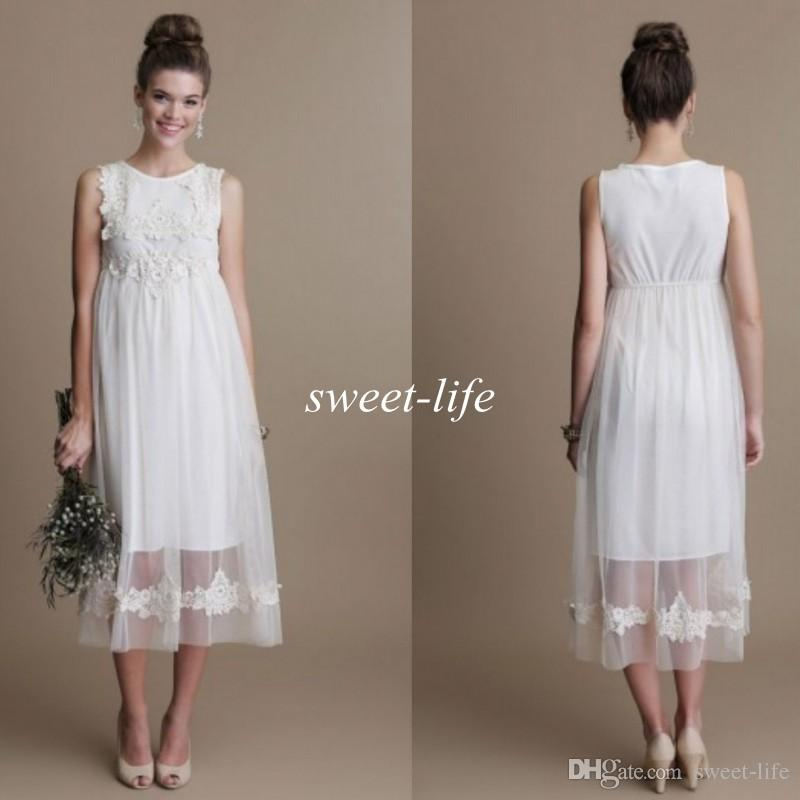 Fashion Short Maternity Wedding Dresses Tea Length Tulle Lace Bateau