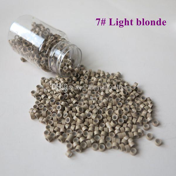 /bottle  4.5mm*2.5mm*2.5mm 5# Medium Brown Micro Tubes with Silicone Micro Links Micro Tubes Micro Rings for Hair Extensions