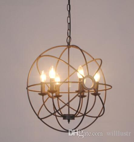 Vintage industry Lighting Pendant Lamp FOUCAULT'S IRON ORB CHANDELIER RUSTIC IRON Loft light gyro American country style diameter 50cm 65cm