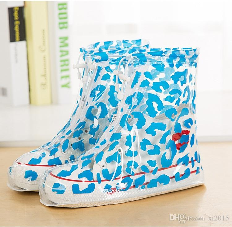 PVC overshoes women rain boots galoshes reusable shoe covers zebra print waterproof wear directly washed
