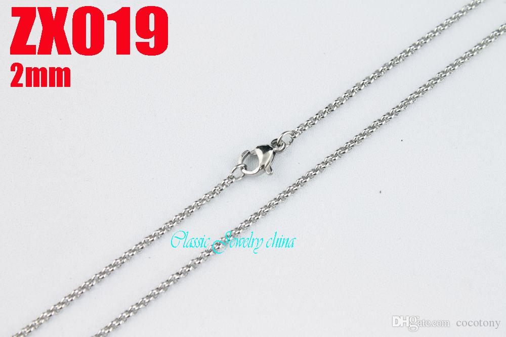 2mm 360-960mm hot 316L stainless steel necklace round rolo chains women fashion jewelry ZX019