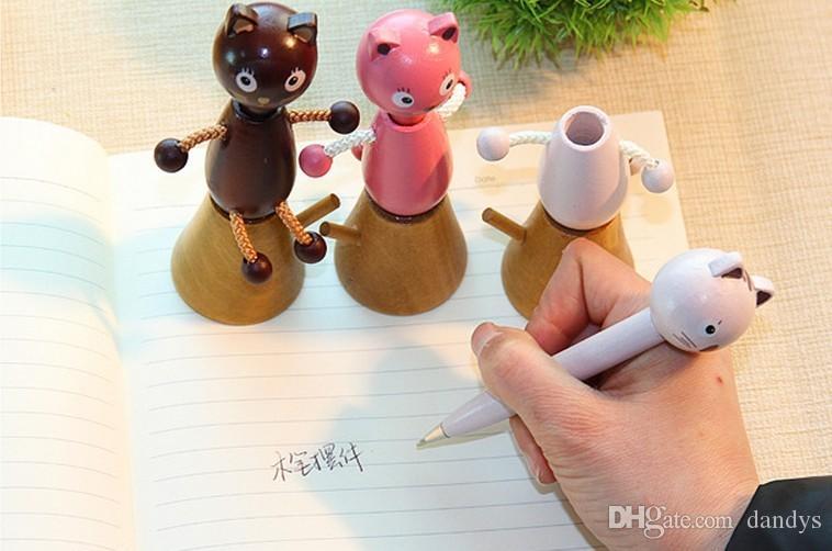 / New Cute dibujos animados bolígrafos de madera, dandys