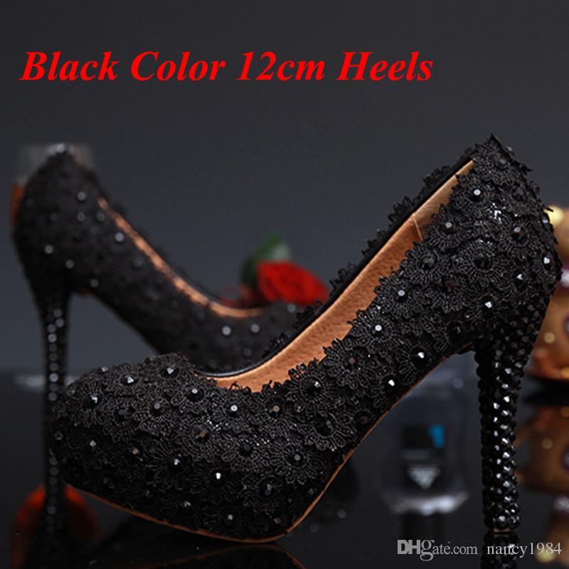 Новое Поступление Сладкий Черный Кружева Цветок Свадебное Платье Обувь Горный Хрусталь Высокие Каблуки Дамы Летняя Обувь Pluse Размер 34-43