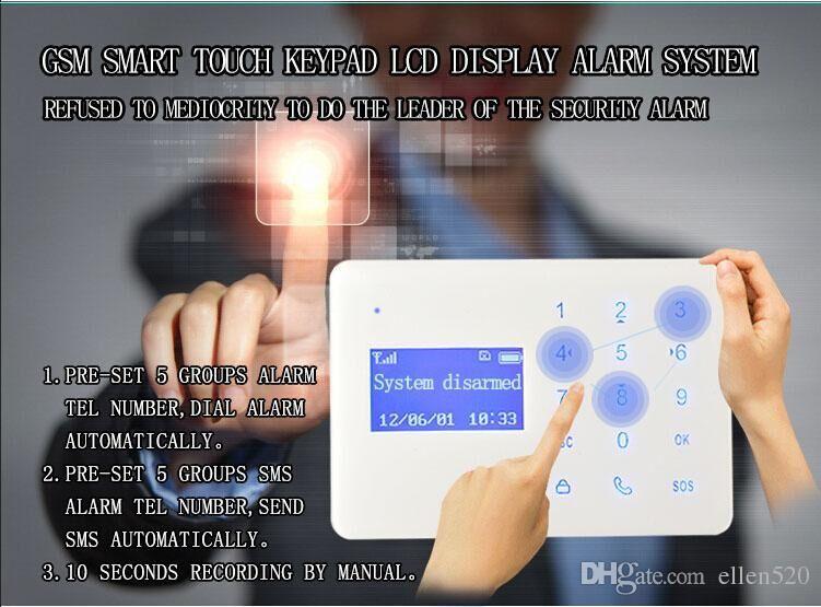 2016 new touch keypad home alarm system Security GSM Alarm Usage power failure gsm sms alarm smart wireless redline alarm system