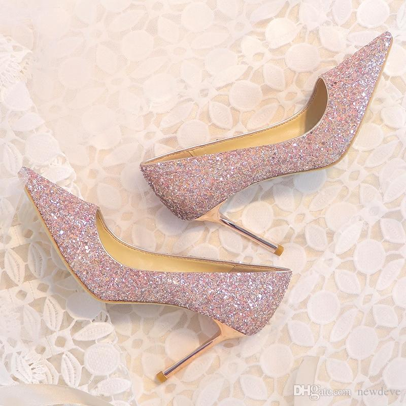 bdd603584f4279 Shiny Wedding Shoes 8 Cm High Heels Top Quality Gold Sliver Pink Champagne  Full Squined Shoe For Women Wedding Collection Bridal Wedges From Newdeve