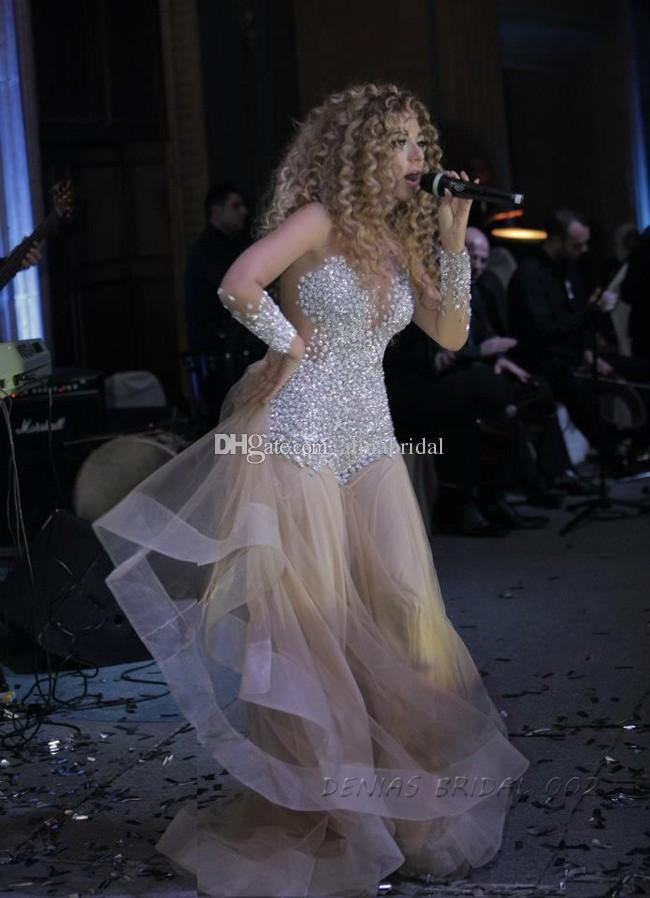 2015 Meryam Fares Celebrity Dress Champagne Mermaid Prom Dresses Long Sleeves Rhinestone Crystals See Through Evening Gowns