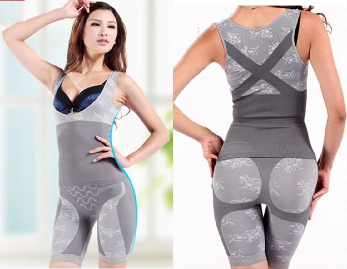 a48ff35ebe01c 2019   Women S Body Magic Slim Slimming Underwear Bodysuits Top+Pant Set Bamboo  Charcoal Body Shaper Print Clothing From Bstrade168
