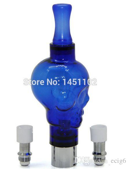 Blue Big Skull Glass E cig Atomizer Cartridge Coil Tank Dry Herb for 510 Thread eGo Vape Wax Oil With 2 extra coil Gift Box