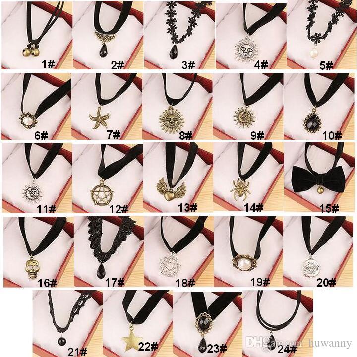 Vintage Samt Colliers Halskette Erklärung Halsketten Retro Gothic Punk Grunge Schwarz Samt Tattoo Halskette Stretch Vollar Halskette 0312WH