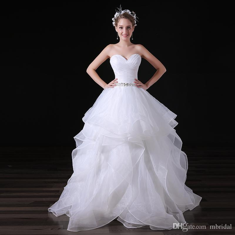 Cheap White Ball Gown Wedding Dresses Tiered Sleeveless Sweetheart ...