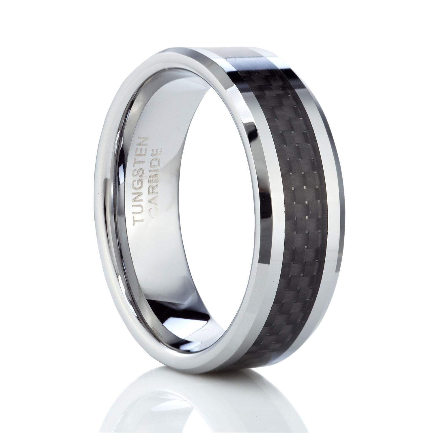tungsten inlay carbon diamond with bevel comfort jewelers band fit black beckers wedding fiber edge rings carbide