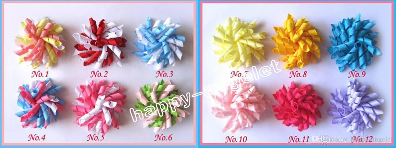 "baby flower hair bows 3.5"" Korker Hair bow, hairs clips, grosgrain ribbon bows Corker satin hairband flowers PD007"