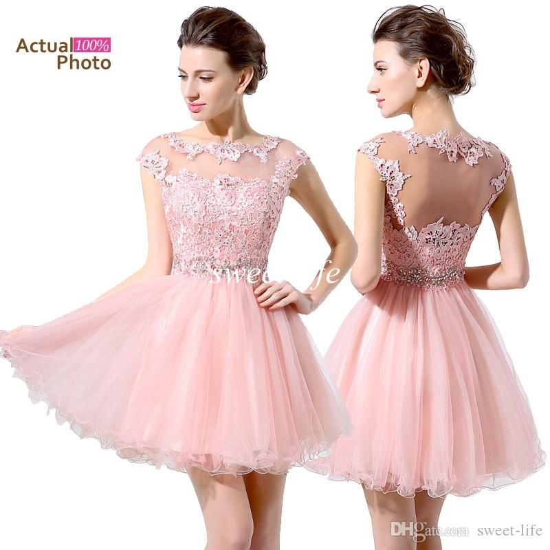 Under $100 Cheap Pink Short Prom Dresses Lace Beaded Cap Sleeves ...