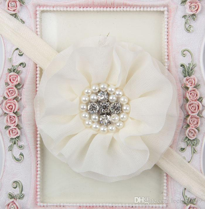 Niños calientes niños Baby girls perla diamante gasa flor Diadema Headwear Hair Band Head Piece Accessories es