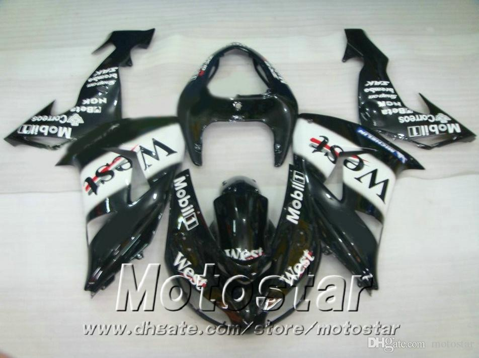 Lowest price fairing kit for Kawasaki Injection molding 2006 2007 ZX10R ninja white black West fairings set 06 07 ZX 10R JU60