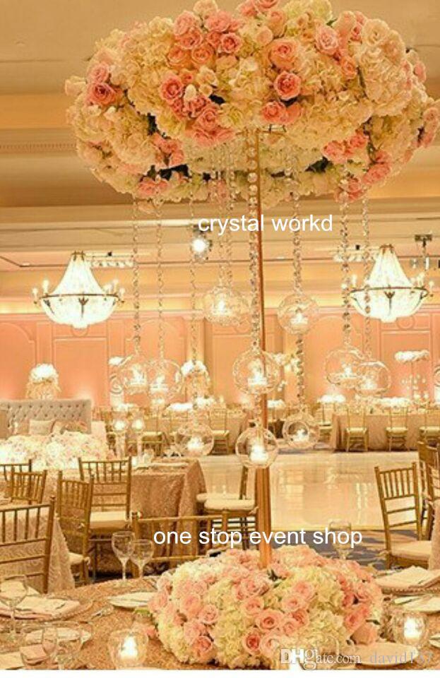 2016 Nieuwste luxe elegante kristallen bloem staat hoog bruiloft tafel middelpunt
