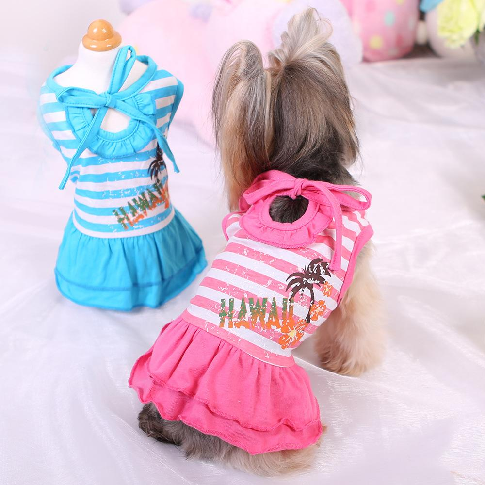 2019 Small Pet Dog Striped Dress Apparel Cute Chihuahua Yorkie Pink
