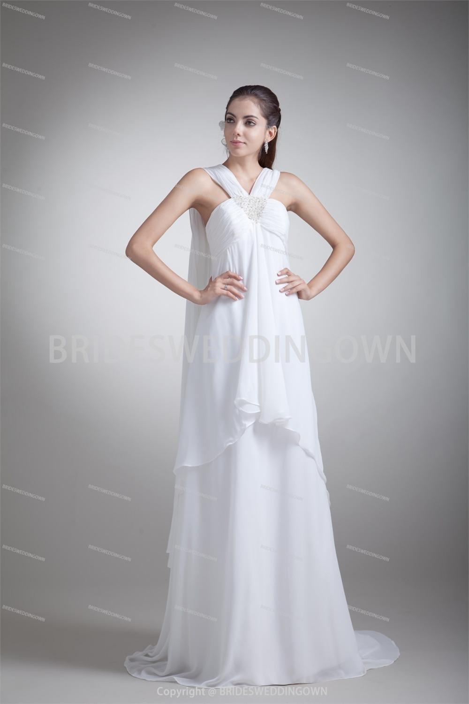 Discount Spring Empire Sheath Zipper Back Chiffon Material Wedding