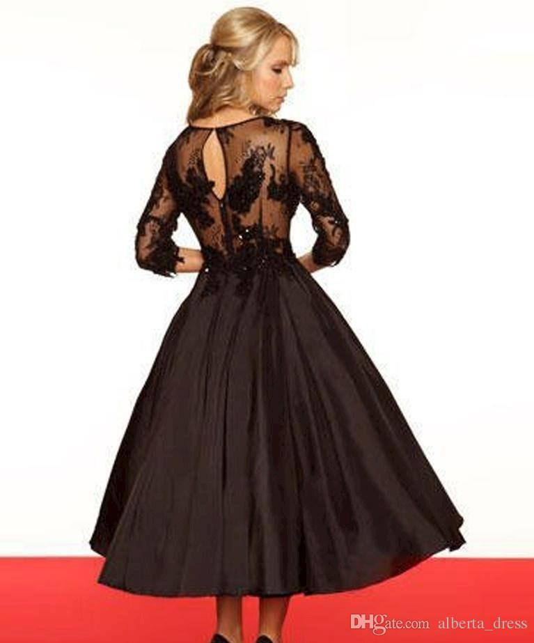 Vintage Black Lace Mother Of The Bride Tea Length Dresses With Scoop Neck 3/4 Sleeves Appliques Taffeta Skirts Ball Gown Wedding Dresses