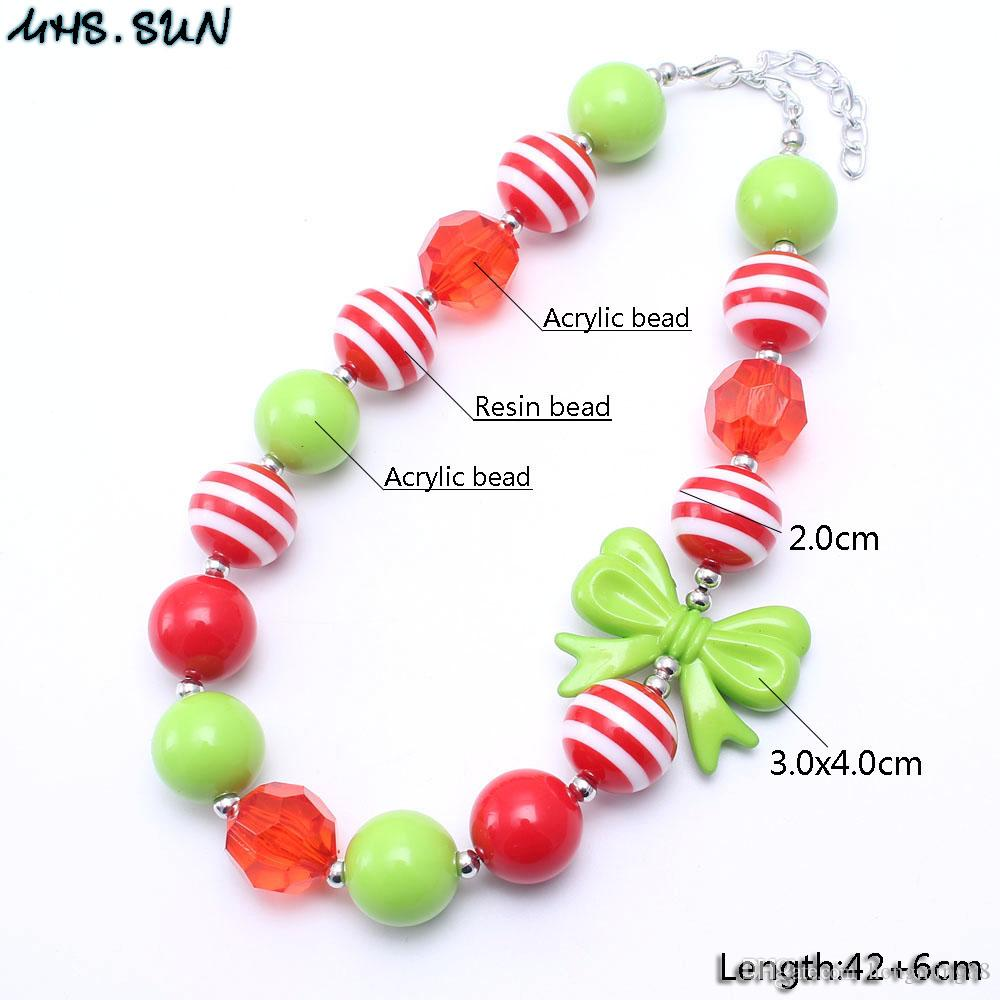 MHS.SUN Green Bow Christmas Baby Kid Chunky Necklace Best Gift New Design Bubblegume Bead Chunky Necklace Jewelry For Baby Kid Girl