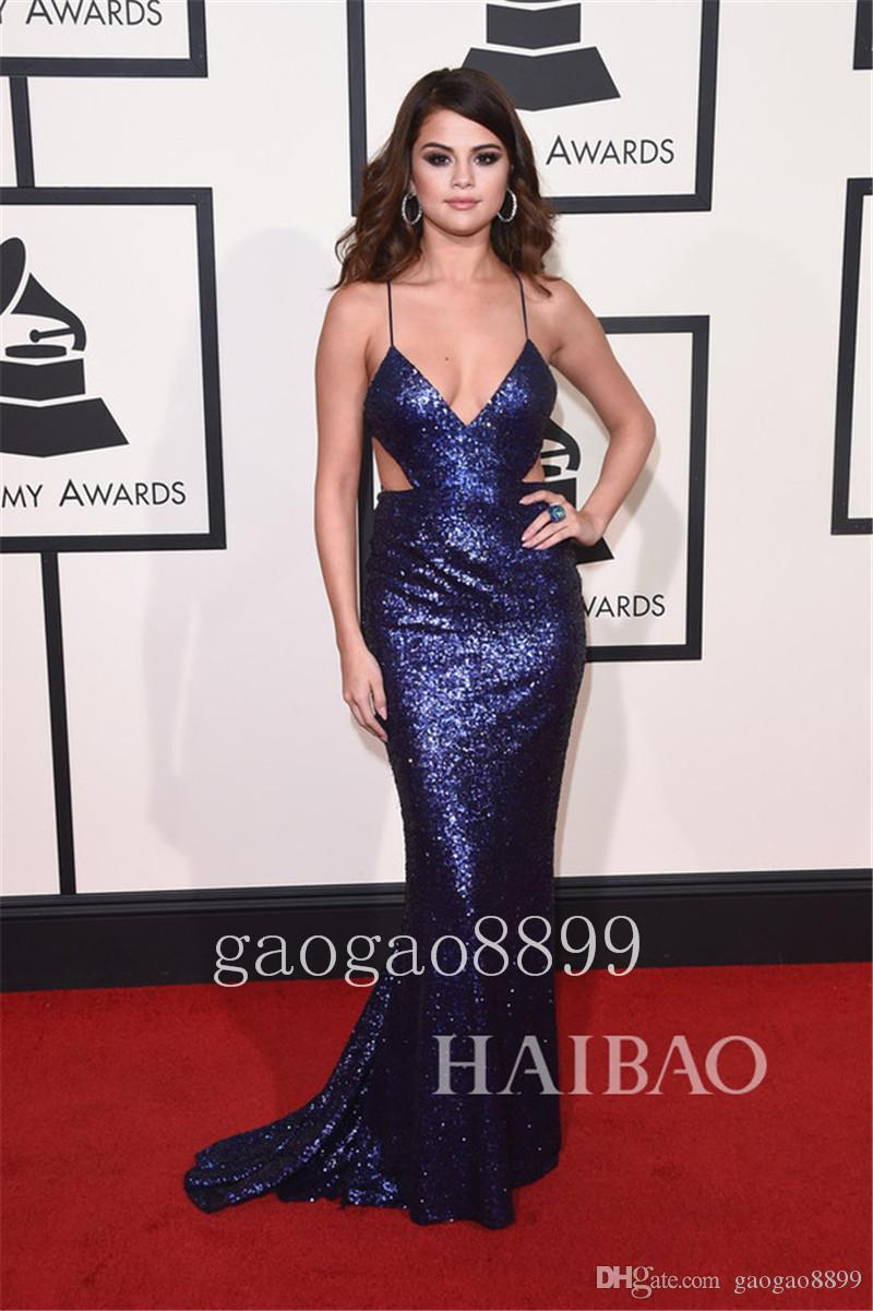Selena Gomez 2019 Grammy Awards Evening Dresses Deep V Neck Backless Sexy Bling Luxury Sparkle Evening Gowns Hollow occasion gown