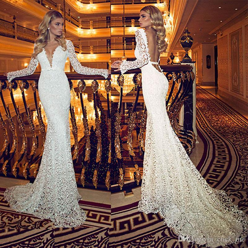2015 Vintage Wedding Dress With Long Sleeve Low Back Plunging