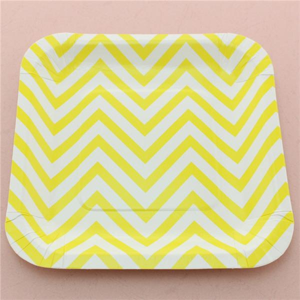 Disposable Yellow Chevron Paper Plates Wedding Baby Shower Party Supplies 7 Square Paper Plates Paper Plate Square Plate Chevron Plate Online with ...  sc 1 st  DHgate.com & Disposable Yellow Chevron Paper Plates Wedding Baby Shower Party ...